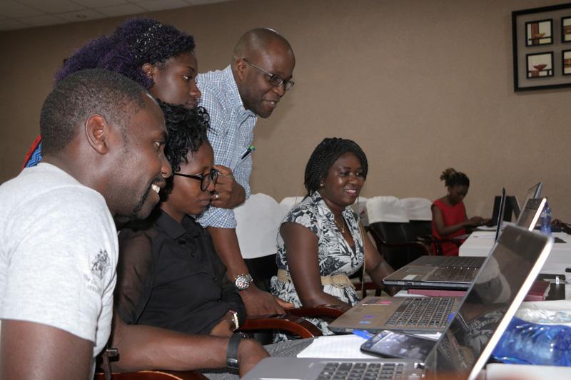 Austin Madinga conducting training at Unicef Social Media workshop
